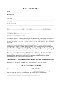 printable past due rent notice  tutlinayodhyaco rent debt collection letter template pdf