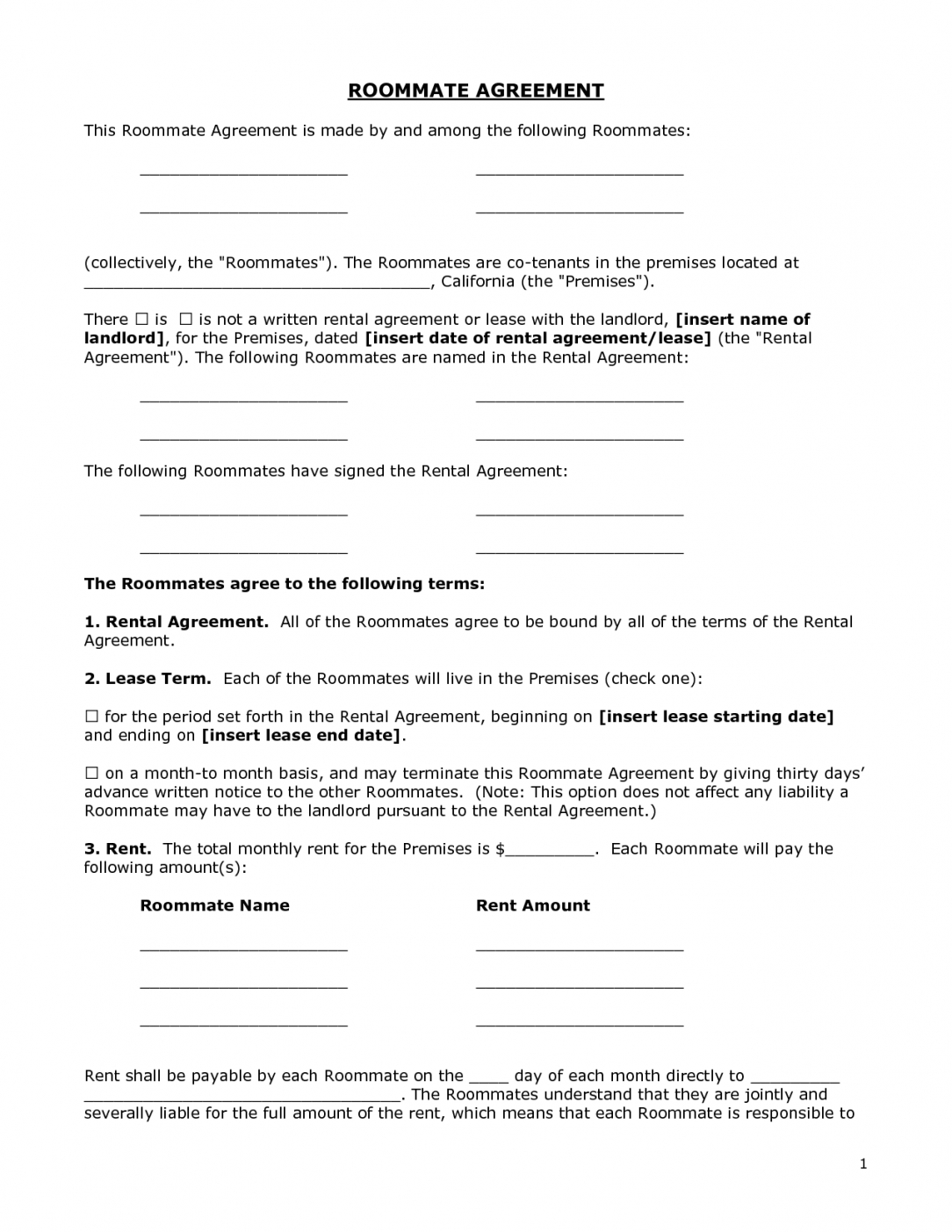 printable renters agreement form  doc by bgf31721  roommate agreement roommate eviction letter template pdf