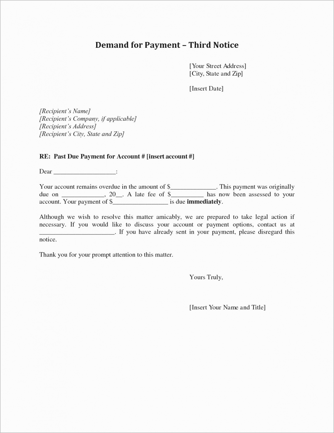 printable sample demand letter for unpaid rent  beertest past due rent demand letter template