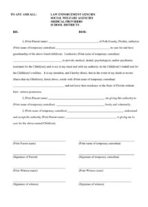 printable temporary child custody agreement form 97998 sample temporary temporary guardianship letter template