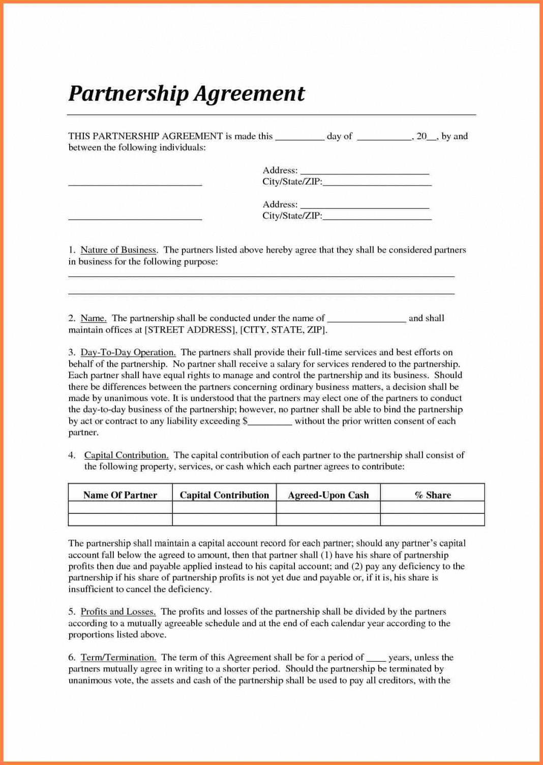 standard partnership agreement of contract sample between two sample partnership agreement between two companies