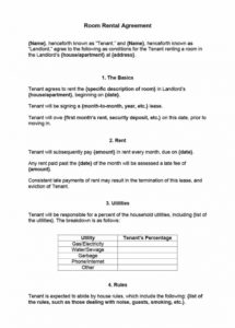 39 simple room rental agreement templates  template archive temporary rental agreement template doc