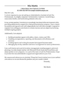 best administrative assistant cover letter examples  livecareer cover letter template for administrative assistant doc