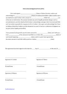 download iou (i owe you) debt acknowledgment form  pdf  rtf  word money owed agreement template