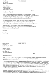 Editable Acting Agency Cover Letter Underbergdorfbibco Template Doc