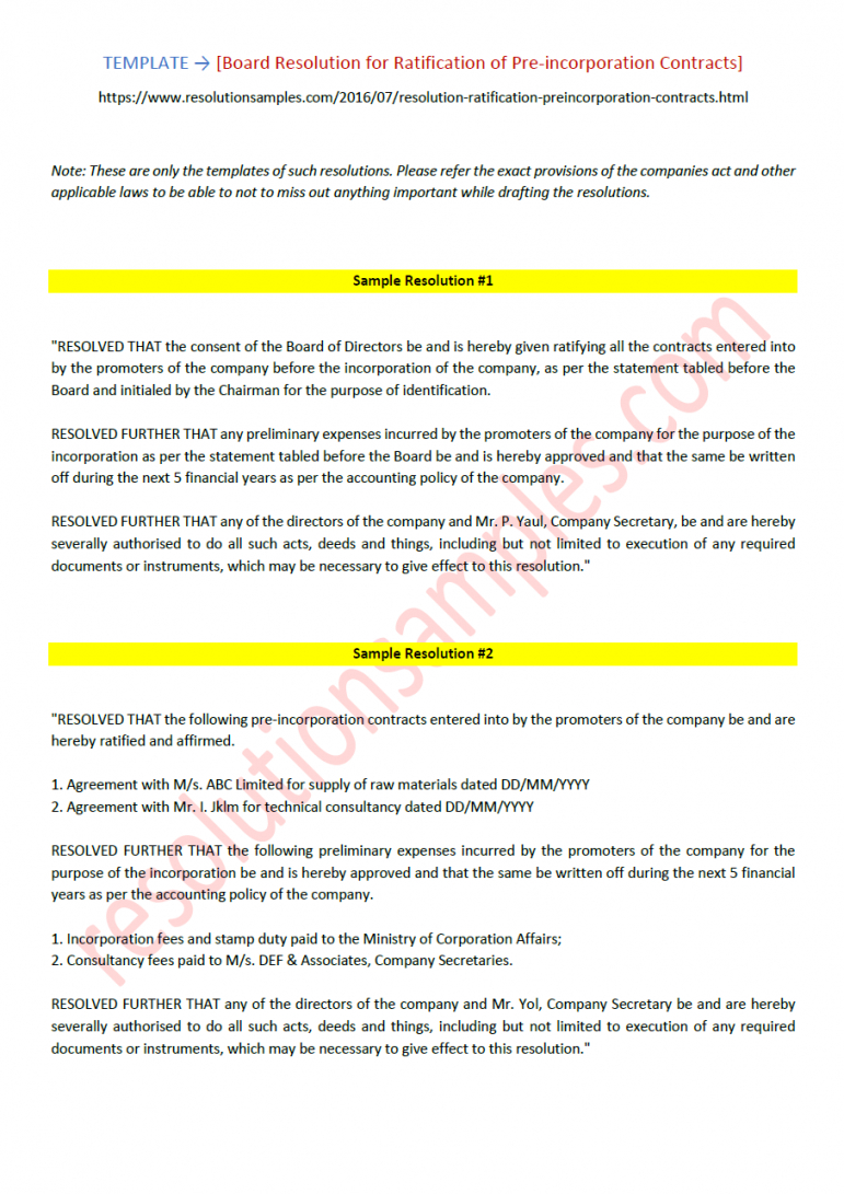 editable board resolution for ratification of preincorporation contracts pre incorporation agreement template sample