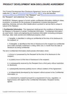 editable free product development nondisclosure agreement (nda)  pdf  word short non disclosure agreement template