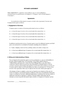 editable free retainer agreement template for selfemployed  bonsai  bonsai consulting retainer agreement template sample