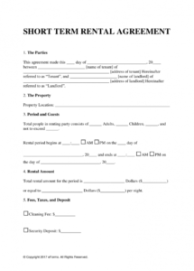 editable free vacation (short term) rental lease agreement  word  pdf temporary rental agreement template pdf