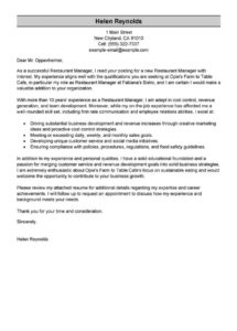 Editable Leading Professional Restaurant Manager Cover Letter Examples Operations Template Doc