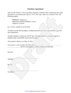 editable purchase agreement template  free purchase agreement property transfer agreement template sample