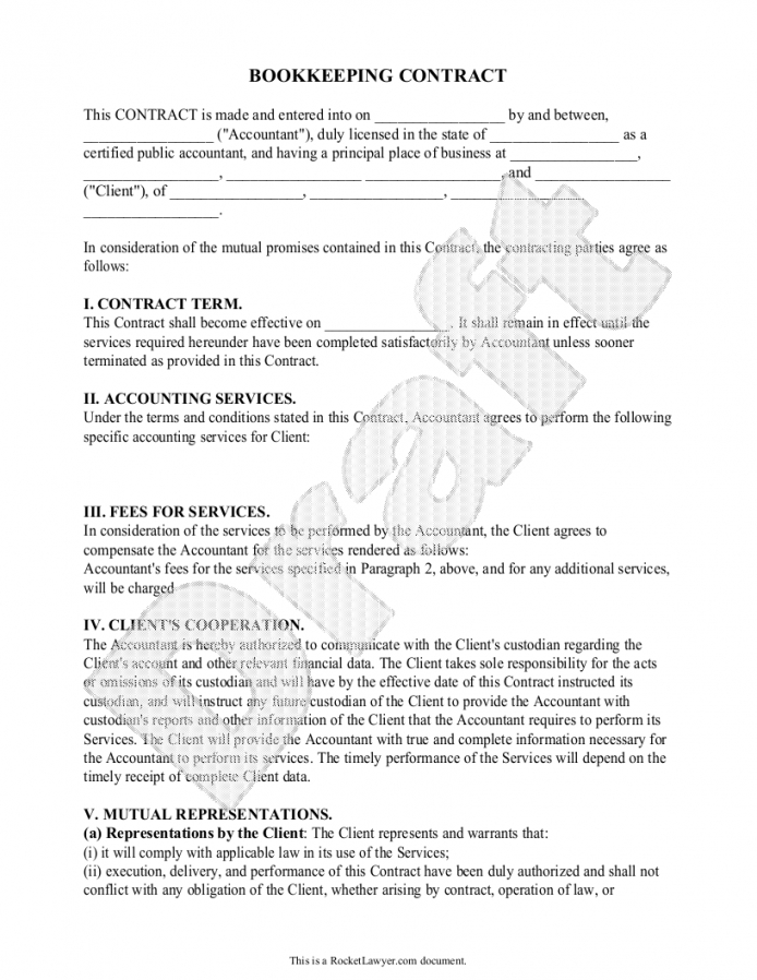 Editable Sample Bookkeeping Contract Form Template
