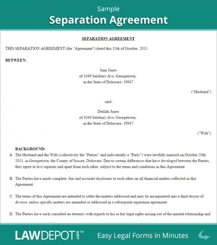 editable separation agreement template (us) lawdepot separation and property settlement agreement template doc