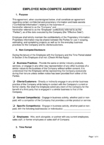 employee noncompete agreement template  eforms  free fillable forms no competition agreement template pdf
