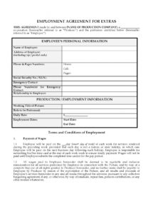 film extras employment agreement  legal forms and business deferred compensation agreement template sample