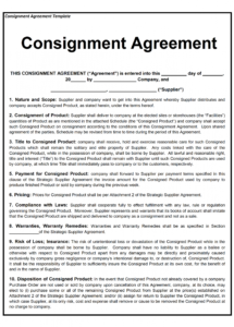 free consignment contract template auto consignment agreement template pdf