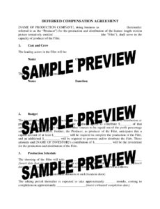 free deferred compensation agreement for film production  legal forms deferred compensation agreement template