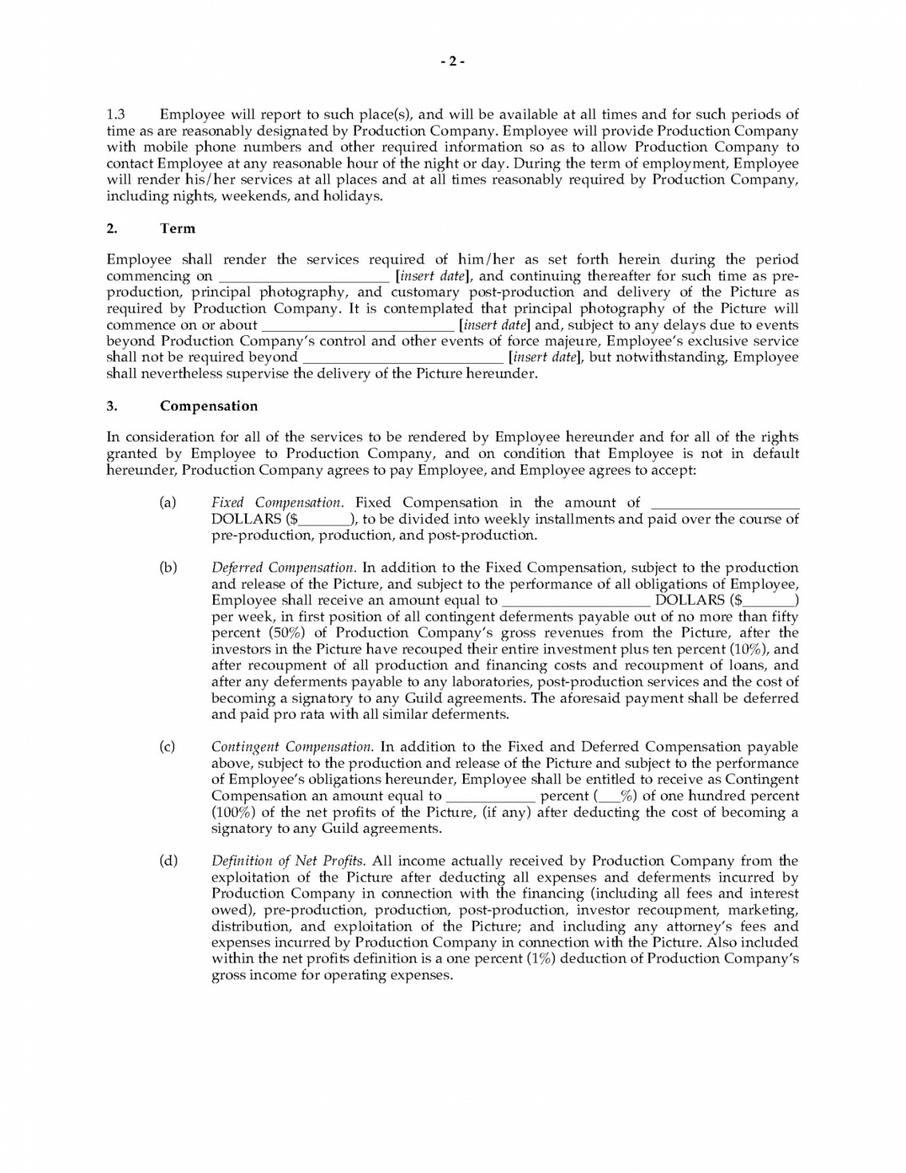 free deferred payment contract film deferred compensation agreement template doc