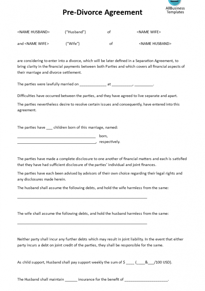 free divorce settlement hecklist pre agreement download this template divorce financial agreement template pdf