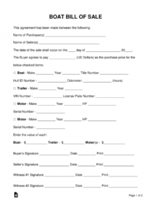 free free boat (vessel) bill of sale form  pdf  word  eforms  free boat sale and purchase agreement template doc