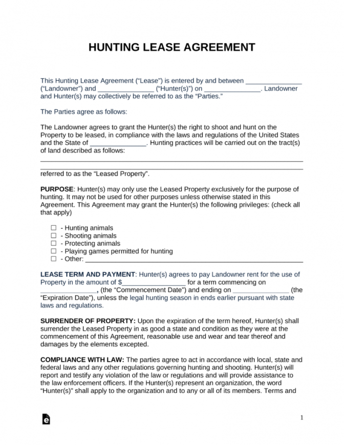 free free hunting lease agreement  pdf  word  eforms  free fillable forms land use agreement template