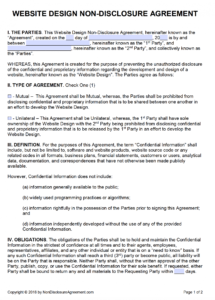 free free website design nondisclosure agreement (nda)  pdf  word (docx) no competition agreement template sample