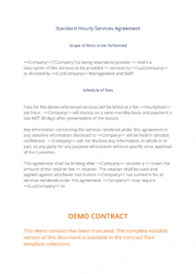 free hourly services agreement  3 easy steps standard services agreement template doc