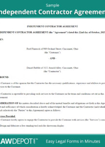 free independent contractor agreement  create, download, and print standard services agreement template example