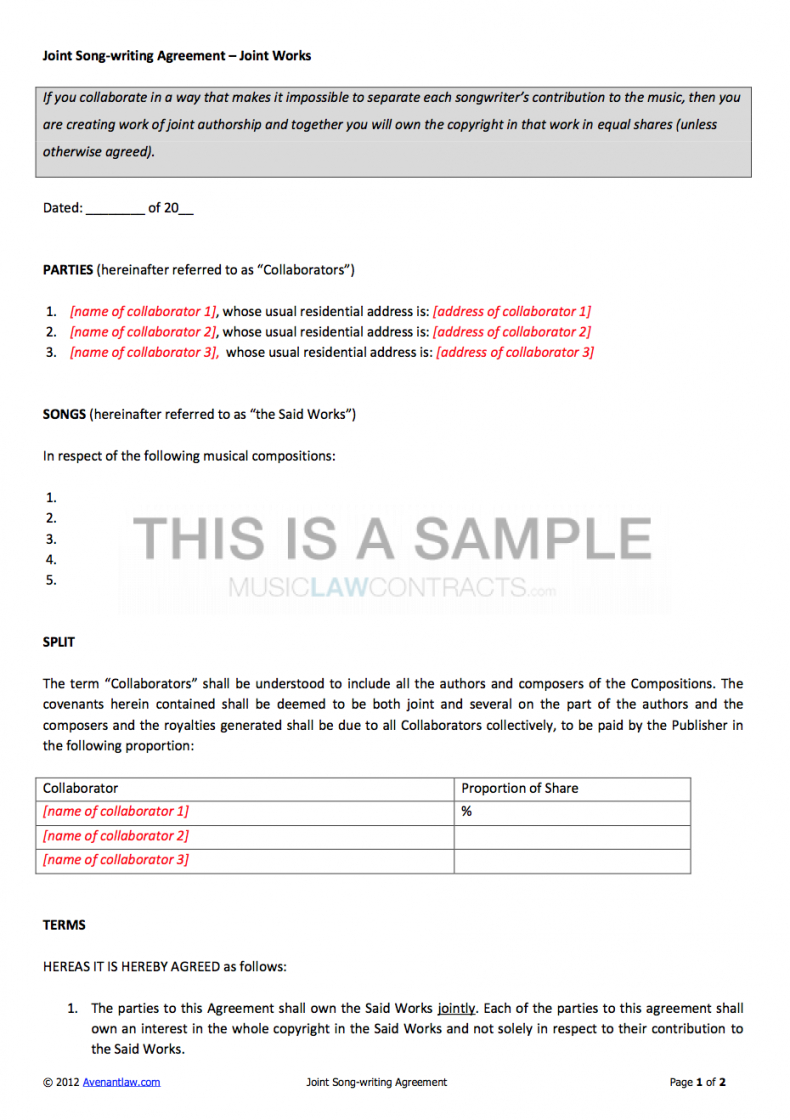 free joint songwriting contract template songwriters agreement template
