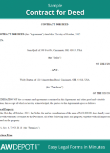 free land contract forms  free contract for deed form (us)  lawdepot land use agreement template sample