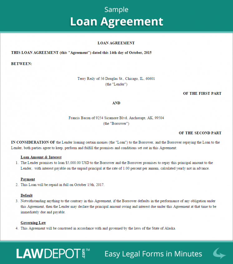 free loan agreement  create, download, and print  lawdepot (us) demand loan agreement template example