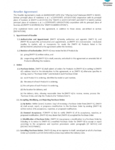 free reseller agreement  templates at allbusinesstemplates product reseller agreement template