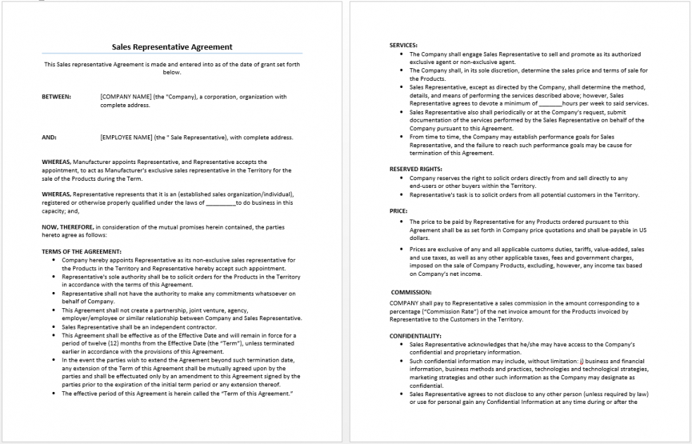 free sales representative agreement template  microsoft word templates sales contractor agreement template