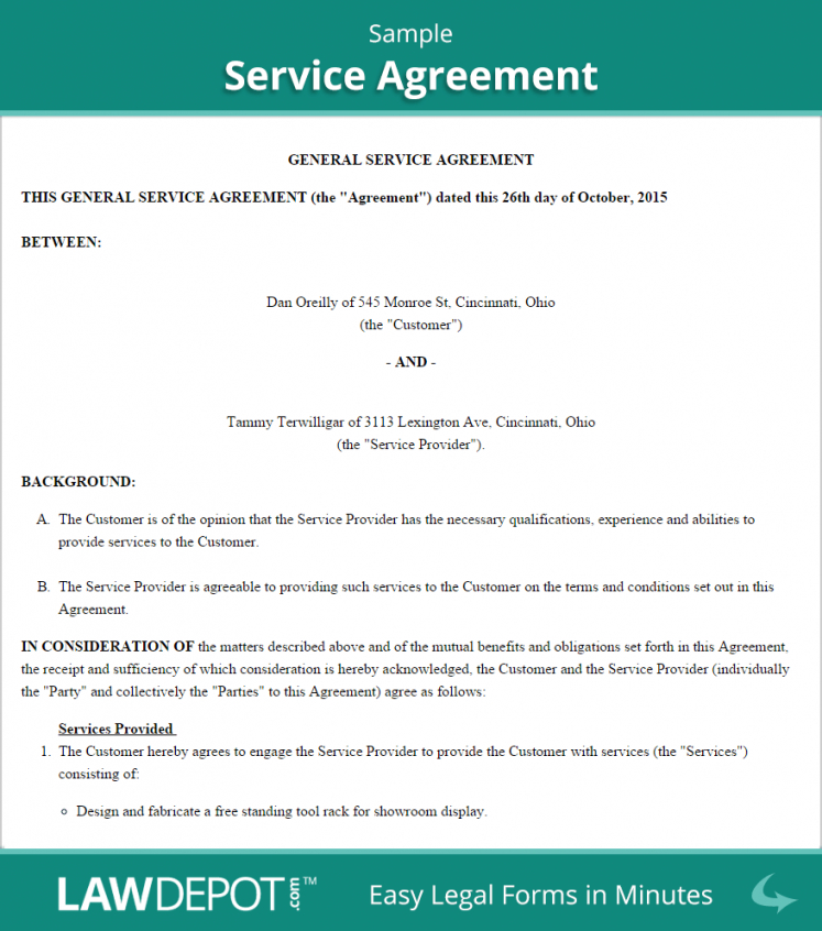 free service agreement  create, download, and print  lawdepot (us) travel service agreement template example