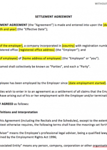 free settlement agreement template  uk template agreements and sample resolution agreement template example
