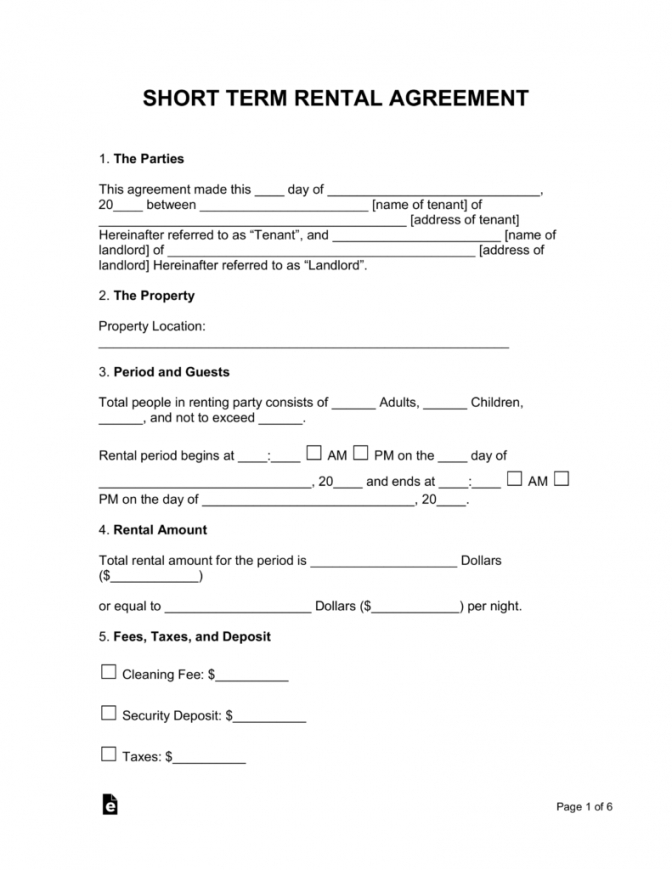 free shortterm (vacation) rental lease agreement  eforms  free temporary rental agreement template example