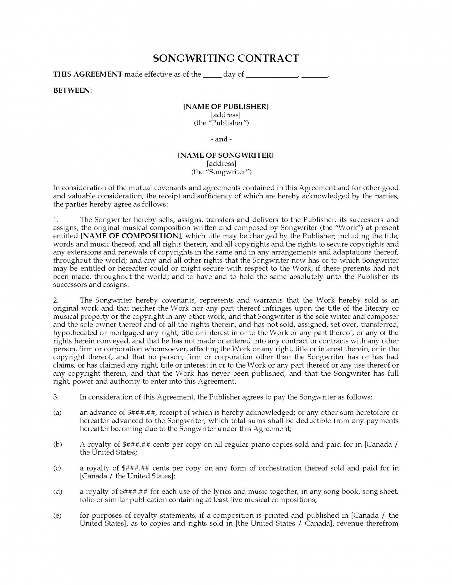 free song writing template 22 1 contract and assignment of copyrights songwriters agreement template