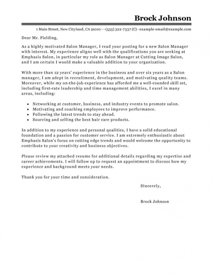 leading professional salon manager cover letter examples & resources cosmetology cover letter template sample