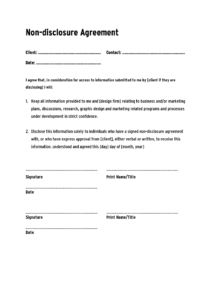 non disclosure agreement template ,confidentiality agreement short non disclosure agreement template example