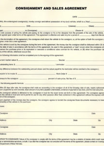 pin vehicle consignment and sales agreement form on auto consignment agreement template