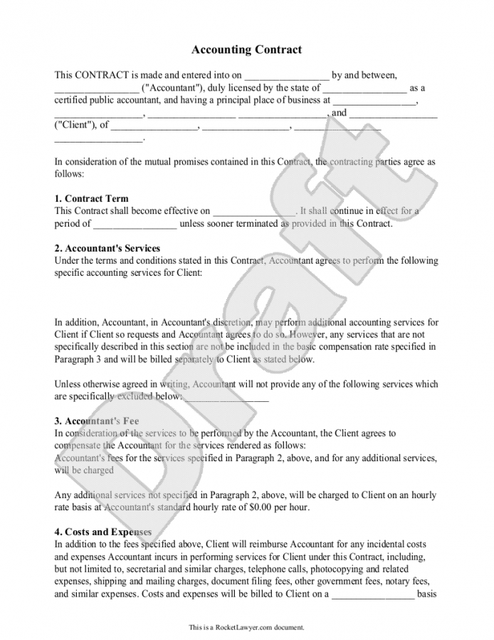 printable accounting contract template accounting service agreement template pdf