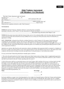 printable agreement: picture of joint venture agreement joint venture agreement construction joint venture agreement template example