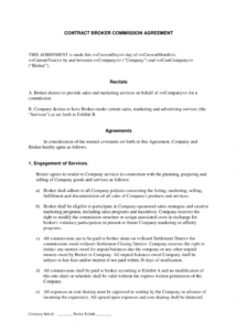 printable broker commission sales agreement : advertising and marketing independent contractor commission agreement template doc