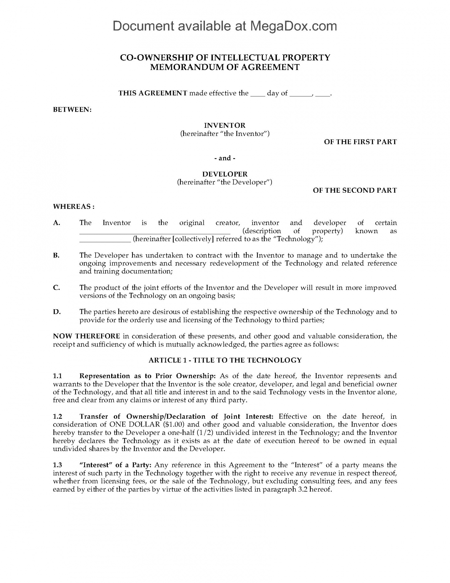 printable coownership agreement for intellectual property  legal forms and technology licensing agreement template example