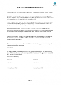 printable employee non compete agreement  templates at business non compete agreement template doc