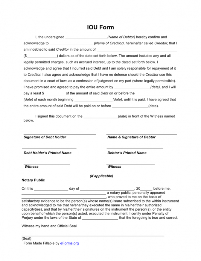 printable free i owe you (iou) template  pdf  eforms  free fillable forms money owed agreement template sample