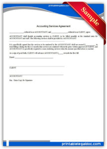 printable free printable accounting services agreement  sample printable standard services agreement template