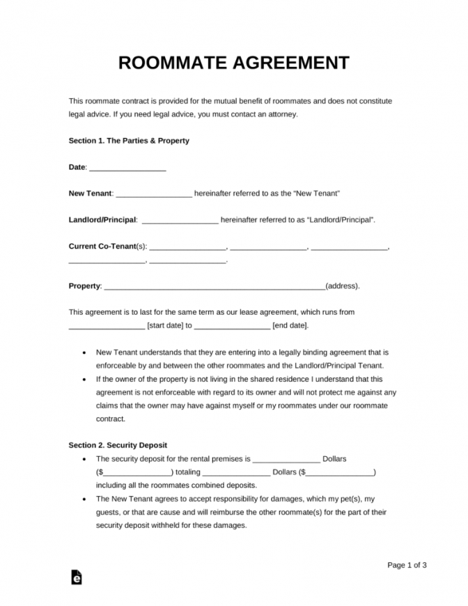 printable free roommate (room rental) agreement template  pdf  word  eforms room sublease agreement template sample