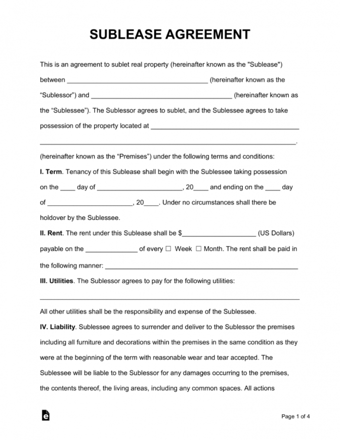 printable free sublease agreement template  pdf  word  eforms  free room sublease agreement template example