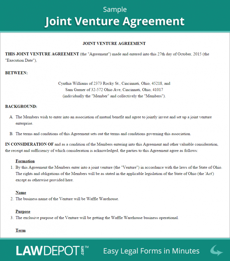printable joint venture agreement  free joint venture forms (us)  lawdepot construction joint venture agreement template doc